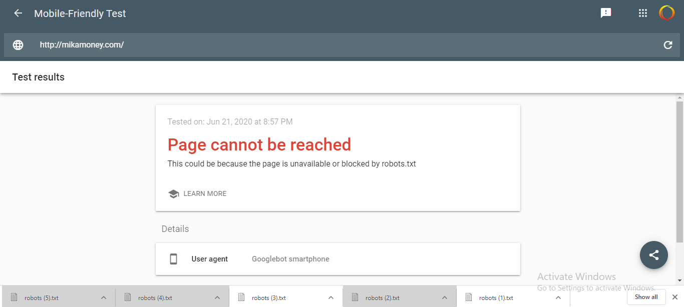 cara mengatasi Page cannot be reached this could be because the page is unavailable or blocked by robots.txt.