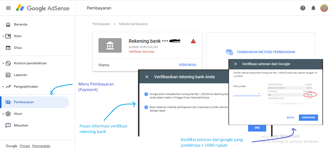 verifikasi rekening bank di google adsense