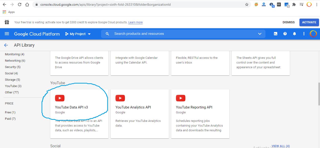 cara mendapatkan kode youtube api key