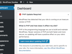 PHP Update Recommended Pada WordPress